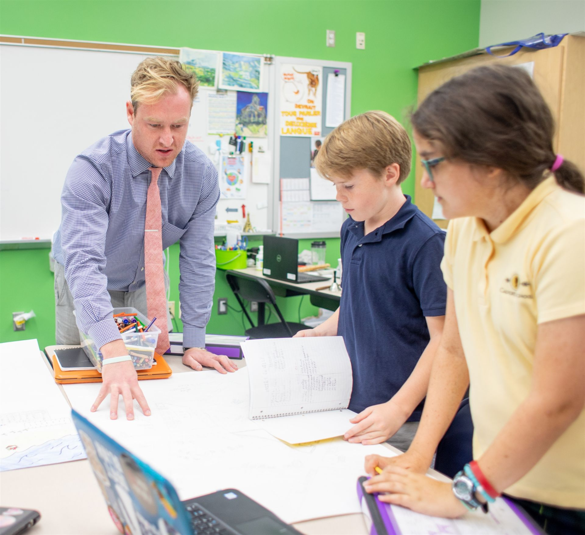 Middle School students learn in a Calvert classroom.