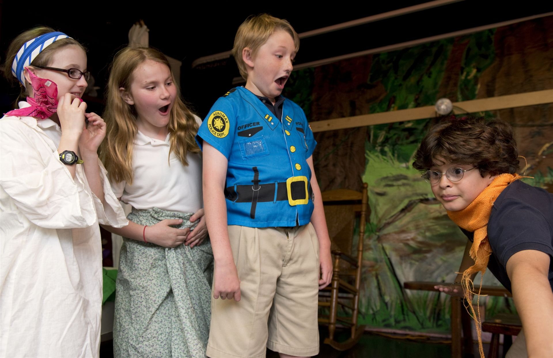In creative drama classes, the children explore, enjoy, and share new ways of self-expression through movement, pantomime, storytelling, puppetry, improvisation, and small and large group performances.