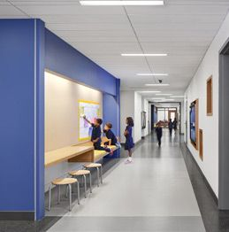 in each hallway allow for breakout session areas for students to work in smaller groups