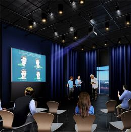 Multi-purpose digital theater and a media workshop with adjacent editing suite to encourage exploration of design and creativity