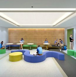 Bright, open common area, where students can socialize, meet with teachers, work in small groups or study independently