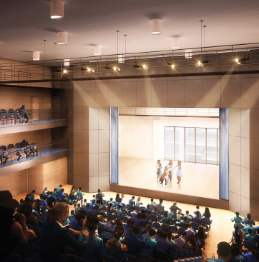 Our multimedia theater will host live performances, guest speakers, school assemblies and more.
