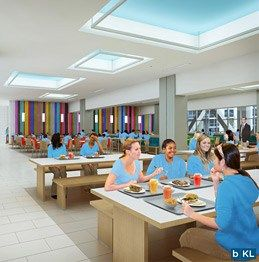 Spacious dining hall that doubles as a student gathering place