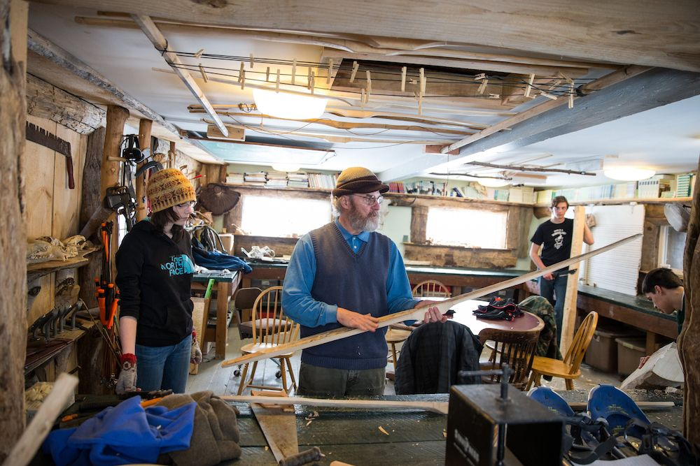 In the bowshop, students learn to make a bow using a piece of wood.