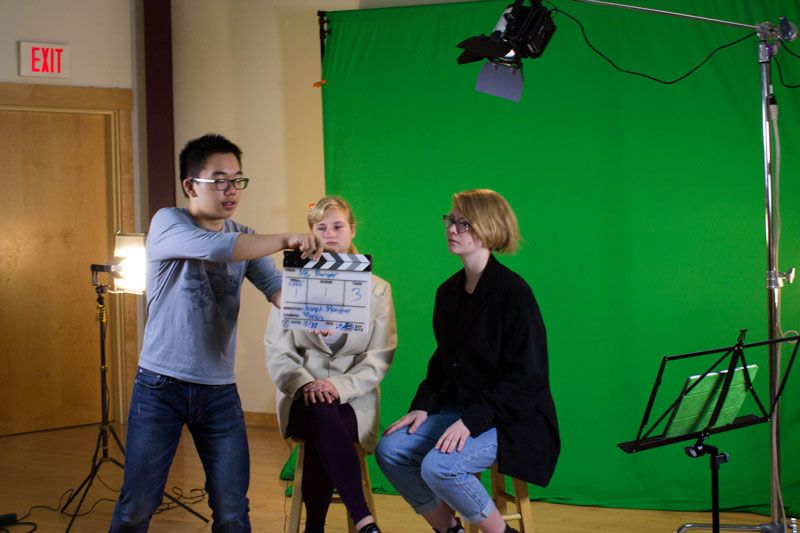 Action! Michael Wu '17 kicks off the 3rd take of Elsa Schloemer '17 and Fiona Pelz-Sharpe '17 in their film