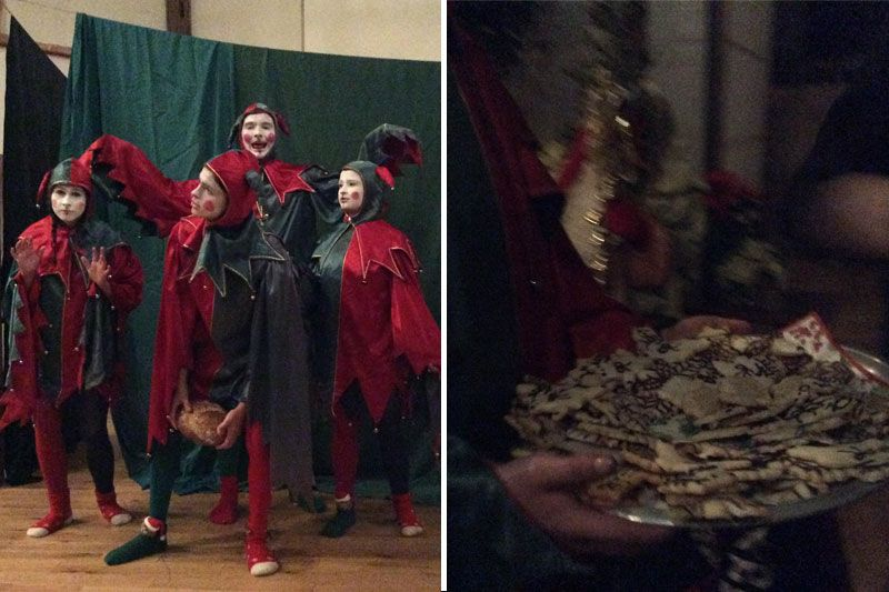 Left: Yule Festival fools, played by Isabel Darby '17, Jack Marin '16, Tor Petrov '18, Maija Massey '16, wait expectantly for 'enlightenment' to return to the forest in the fools' skit. Right: Platters of hand-decorated holiday cookies are presented to the audience during the festival. The hundreds of cookies are made by the students under the direction of Art Teacher Eunice Chalmers.