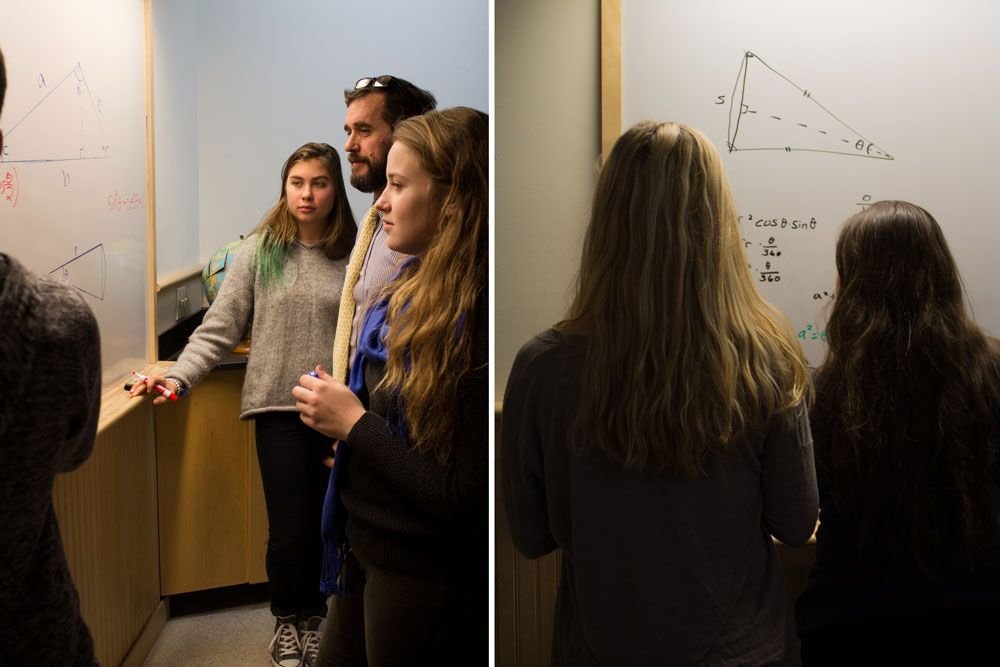 Left: Math teacher Walter Manny helps a stumped Lucy Ward '16 and Grace Durnan '17 with their problem set. Right: Ashlynn Barry '16 and Noa Sadeh '17 look over their finished equation.