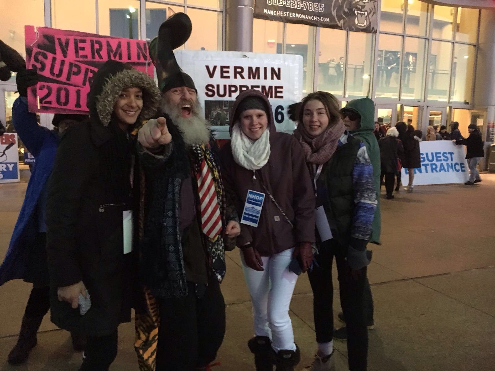 They even ran into perennial candidate Vermin Supreme!