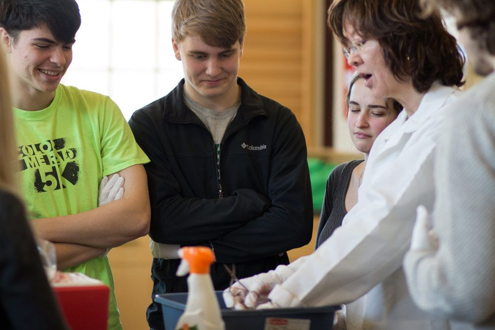 Jack Marin '16, Sam Renaud '16, and Maija Massey '16 look on with mixed reactions as science teacher Kim McCormick pulls bovine intestines out of a container. Today, the senior biochemistry block had the unique opportunity to dissect and study organs from a locally butchered cow.