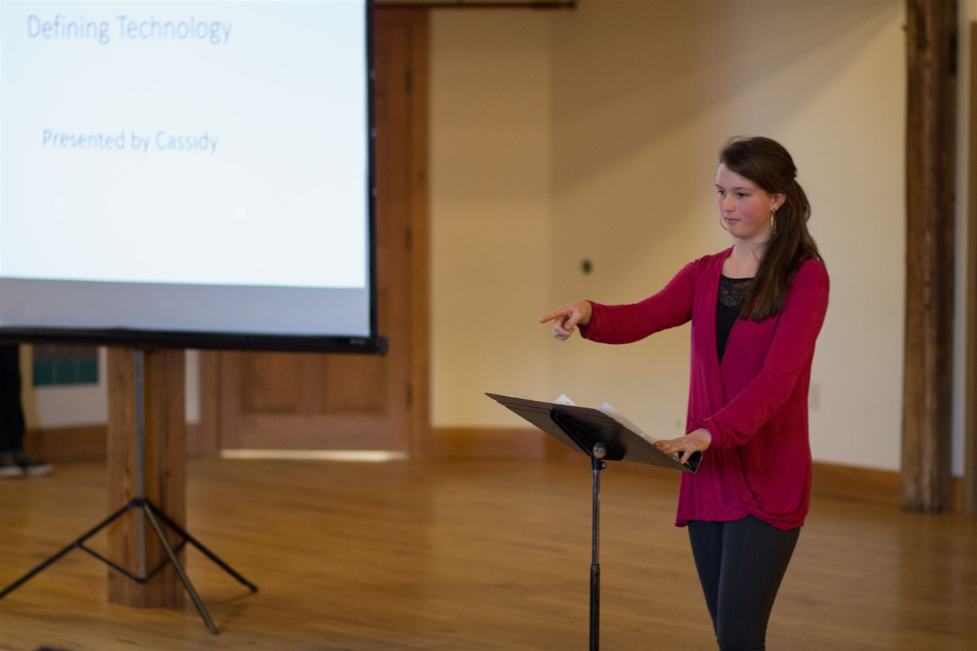 Cassidy Dufour '19 gives a talk during the freshmen capstone presentation. The presentation gave scope to the many facets of technology and how they permeate through our everyday life.