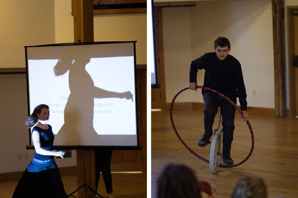 Cassidy Dufour '19 (left) came up with an interpretive dance to lead the audience from caveman technology all the way up to the modern age. Austin Davis '19 (right) jump ropes through a hula hoop while riding a unicycle in between presentations.