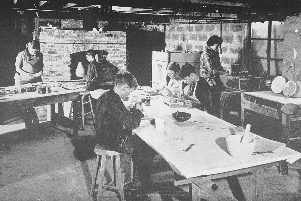 The pottery in school's early days