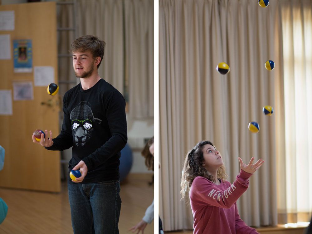Left: Jason Elder '17 works on keeping control of the juggling balls. Right: Kira DiPietrantonio '18 juggles 5 balls simultaneously!
