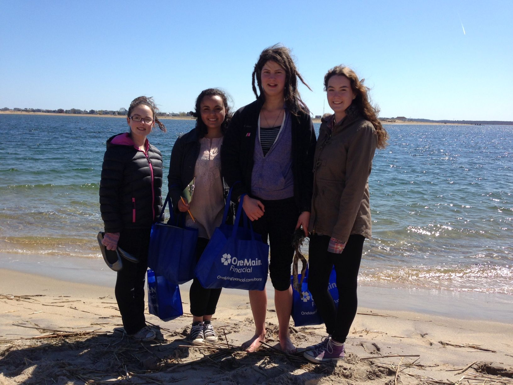 Camilla Sheen, Sadhana Lake '18, Cordelia Schiller '16, and Laini Kellar '16 after a day of beach combing!