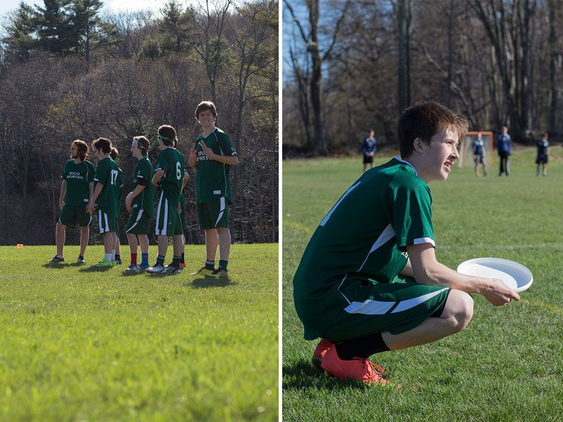 The HMS Ultimate Frisbee team just played their first game vs. Dublin School. Left: The starters wait for the game to commence. Right: Andrew Ewald '17 watches the opening throw.