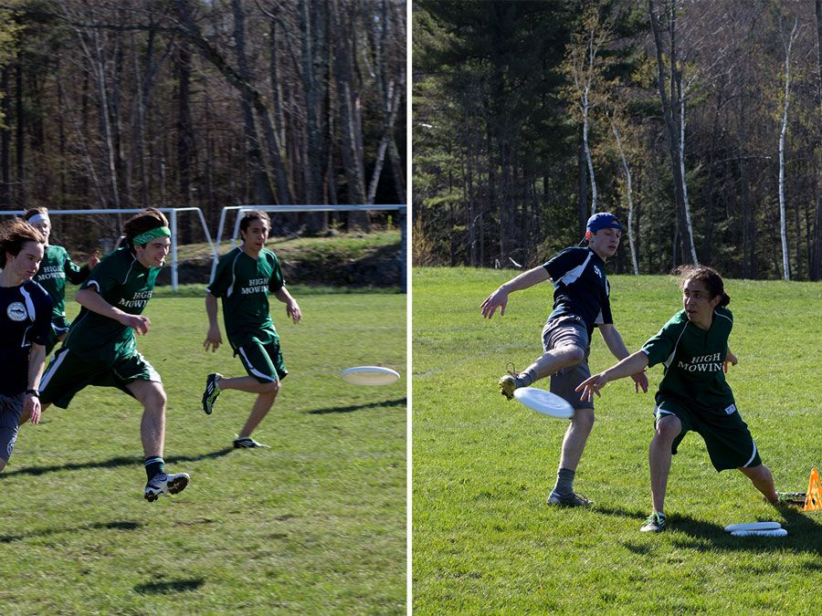 Left: Kirill Bykanov '18 chases the frisbee down. Right:  Hunab Almehua '18 slips the disc by his defender.