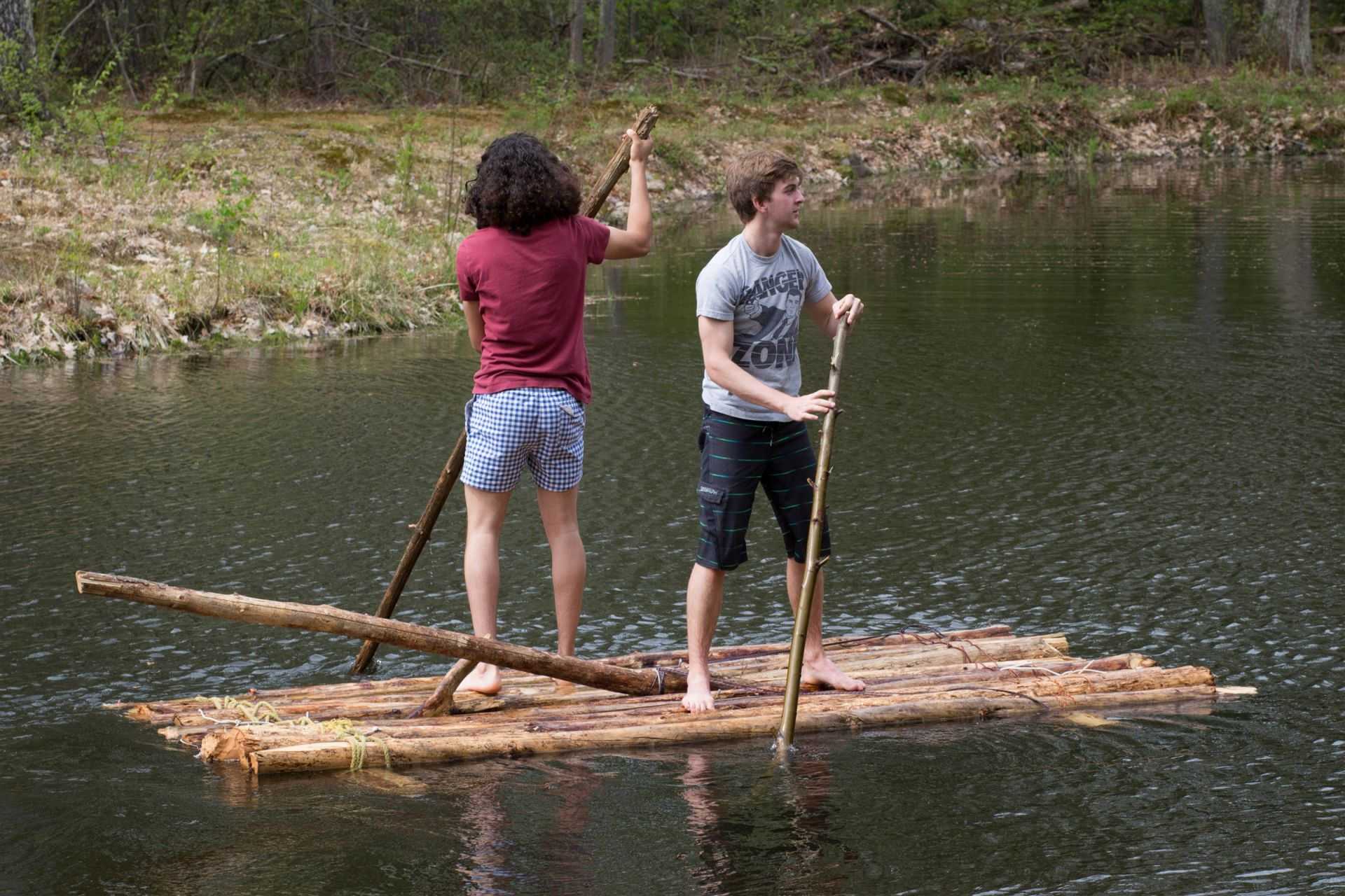 As a final project, Hunab Almehua '18, Jason Elder '18, and William Mussman '18 (not pictured) handcrafted a raft and tested its seaworthiness on the last day of Block.