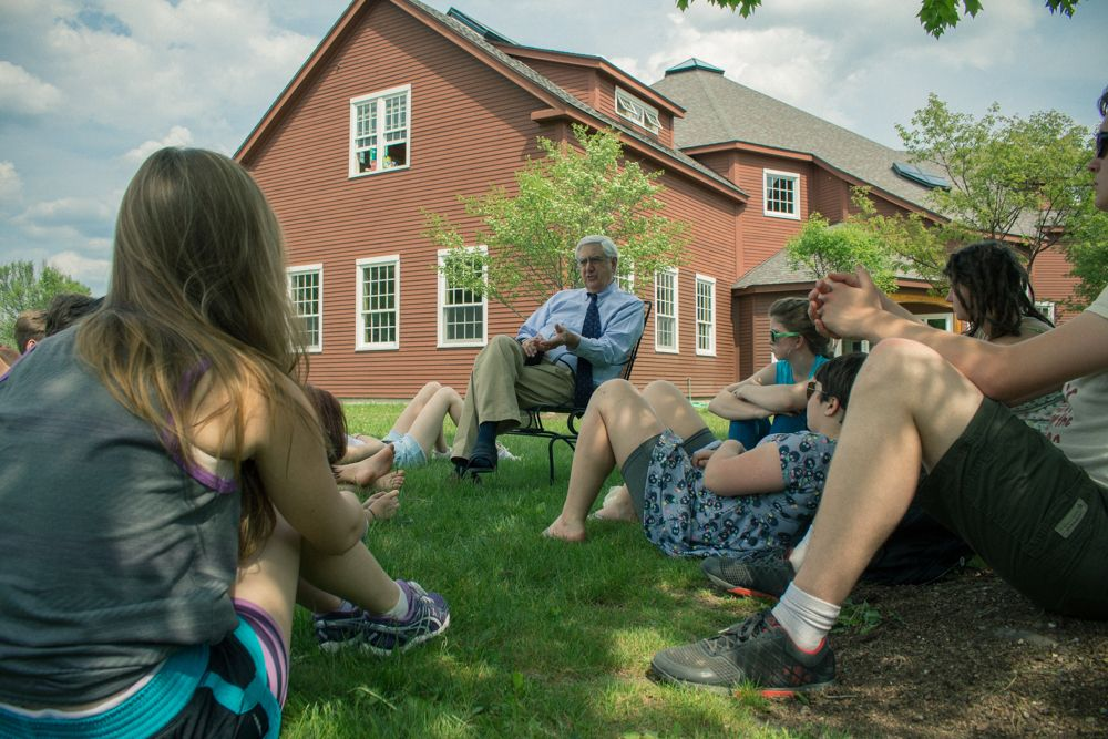 Cary Hughes takes his Global Issues class outside on a particularly hot day.