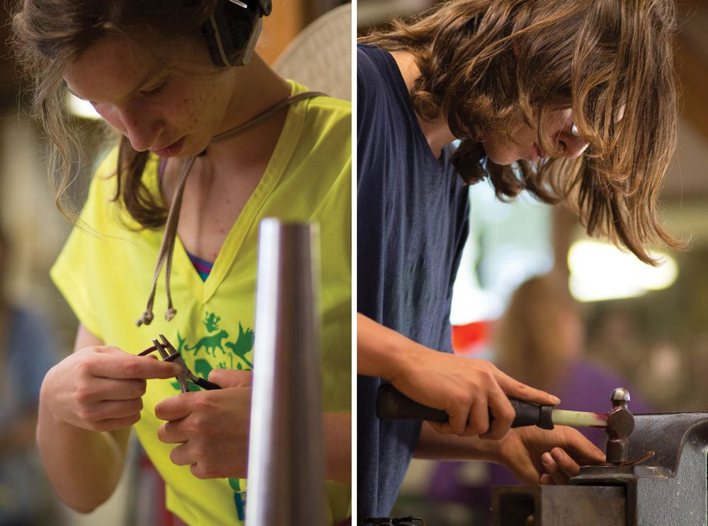 Left: Julia Kaplan '16 puts the finishing touches on her nearly completed bracelet. Right: Rye Fought '19 hammers his copper prior to heating and bending the metal.