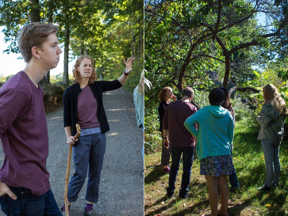 Left: Emily highlights features of the forest management currently happening in the High Mowing Woods. Right: The group stands under an old peach tree in the herb garden they will be revitalizing over the next few weeks.