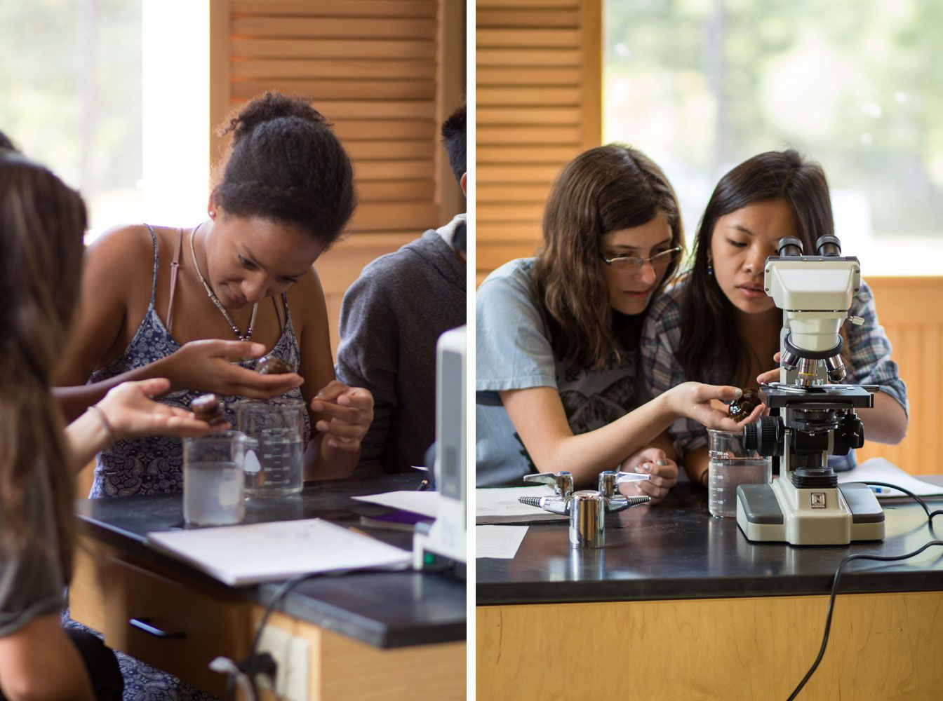 Left: Lauren Conde '17 gets over her initial reaction and studies the anemone closely. Right: Audrey Quick '17 and Li An Dezmelyk '17 observe the slimy skin of the anemone.