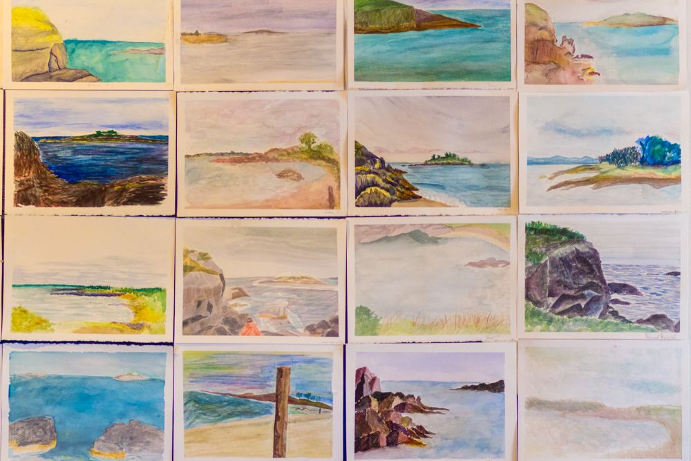 Finished watercolors from yesterday morning's coastal art excursion!
