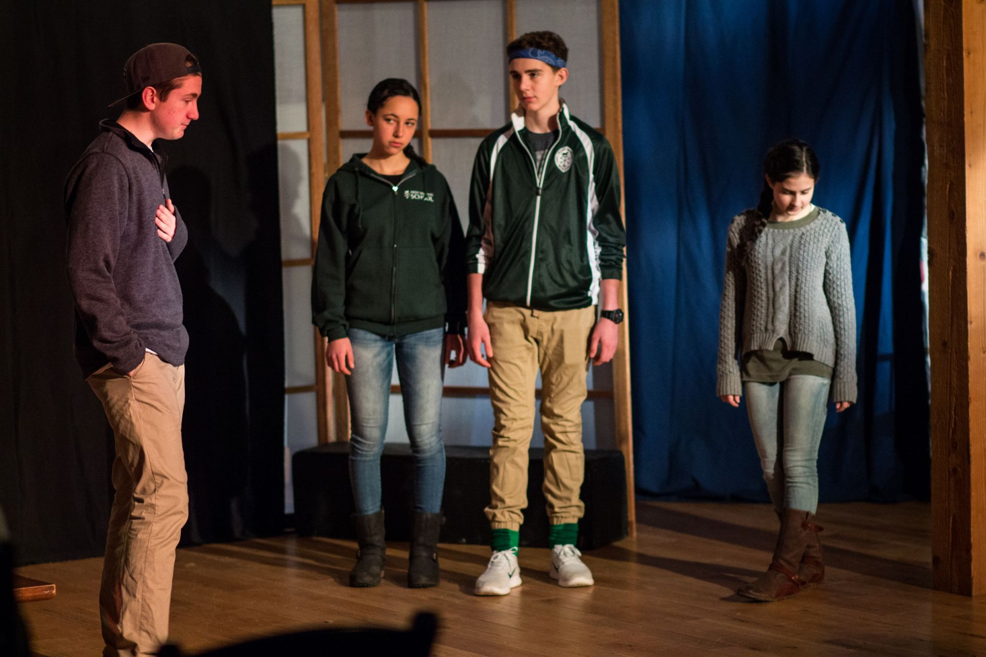 Jasper Louden '20 speaks to his subjects as King Deramo in Carlo Gozzi's 'The King Stag.'