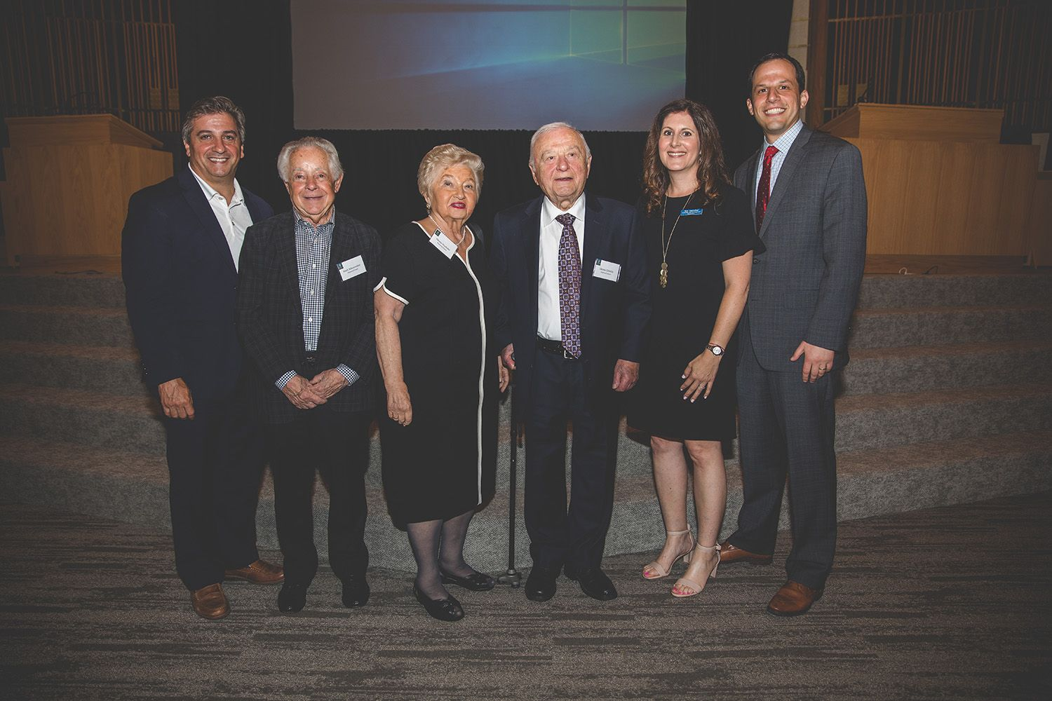 L to R: West Orange Mayor Robert Parisi; Holocaust survivors Mark Schonwetter, Hanna Wechsler and Morris Gliklich; Names, Not Numbers Coordinator Erin Sternthal and Head of School Adam Shapiro
