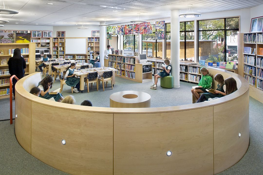 The Lower School library features a reading nook.