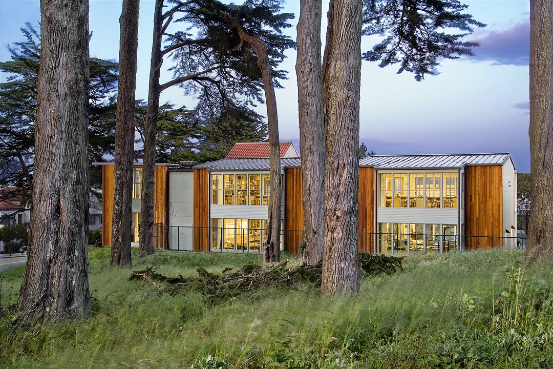 The Grace Magill Arts and Science Building abuts Lands End and offers a view of the Golden Gate Bridge.