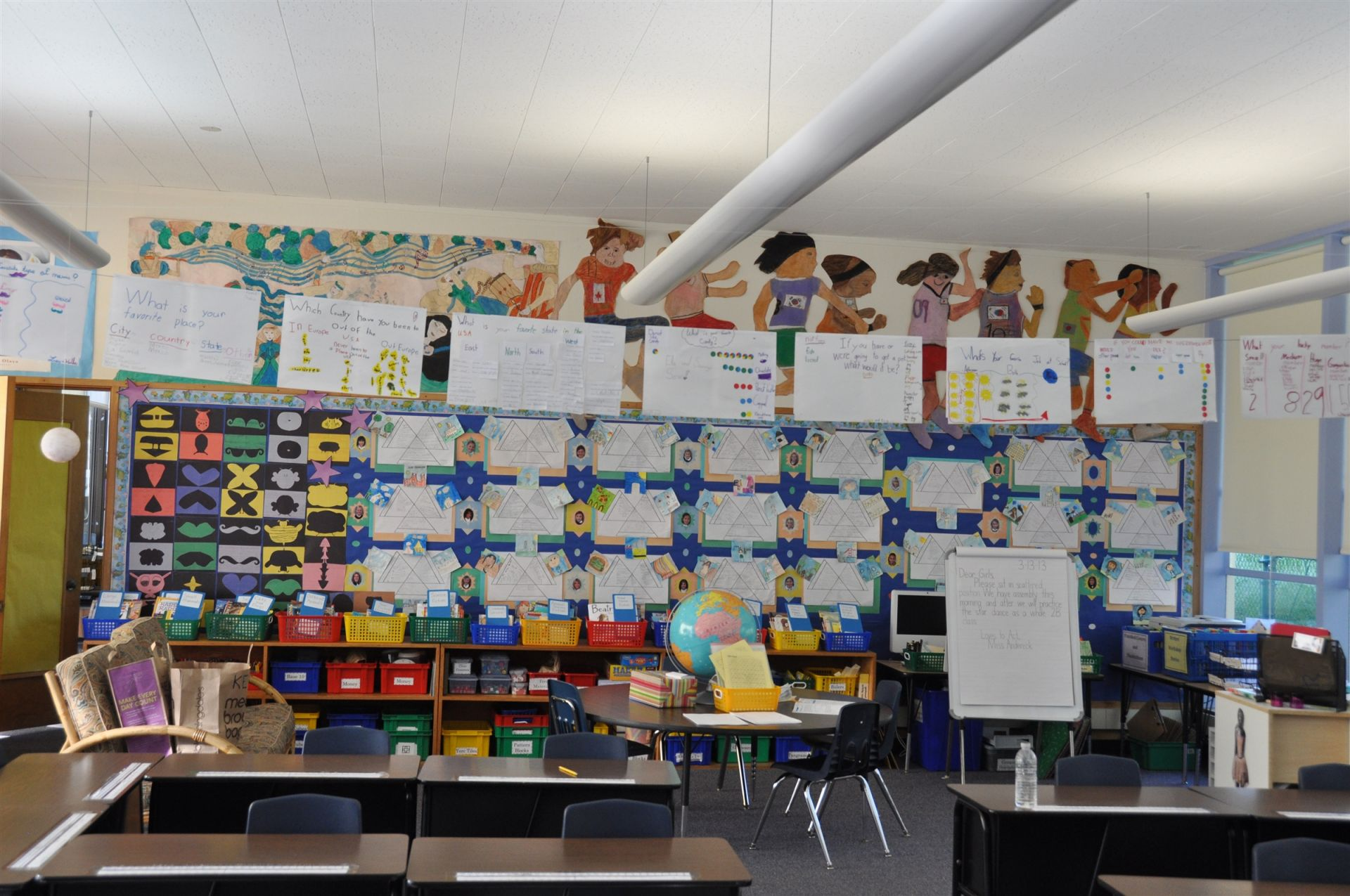 A Lower School classroom shows off a variety of class projects.
