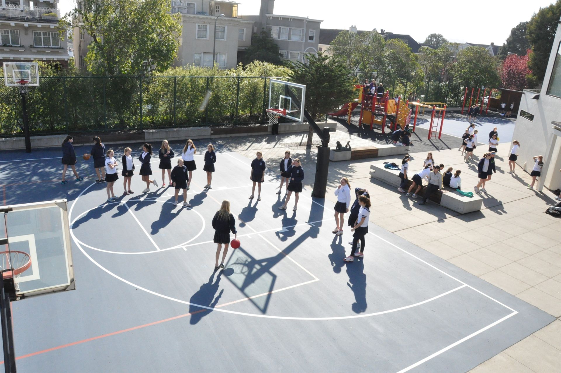 Both Upper and Lower School students can take advantage of recreational time out on the playgrounds.