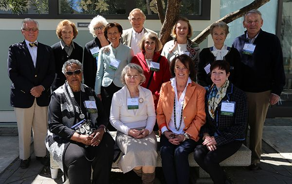 Back row, L-R: Jack Wyant, Doris Fisher '49, Co-Chair Barbara Sklar, Co-Chair Mary Robinson, Tom Perkins, Victoria Fleishhacker '60, Susan Boeing, Christina Norman, Rick Jones. Front row, L-R: Bobbie McClanahan, Stefania Jha, Peg Wyant, and Bonnie Trexler.