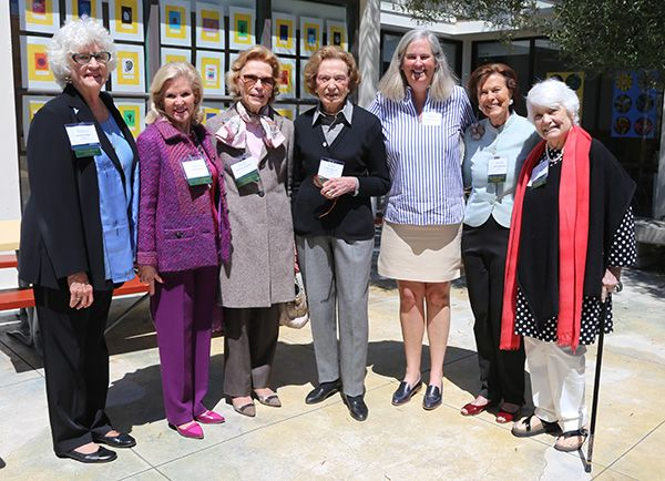 L-R: Co-Chair Barbara Sklar, Dede Wilsey, Barbara Callander '44, Doris Fisher '49, Head of School Michele Williams, Co-Chair Mary Robinson, and Sylvia Bunshoft.