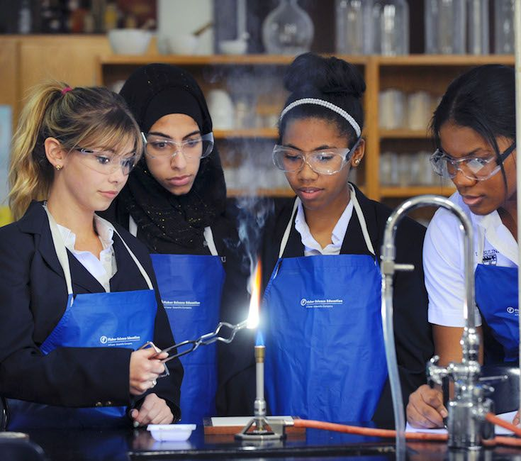 Hands-on experiences in the Academy's refurbished laboratories are a central feature of the science program.