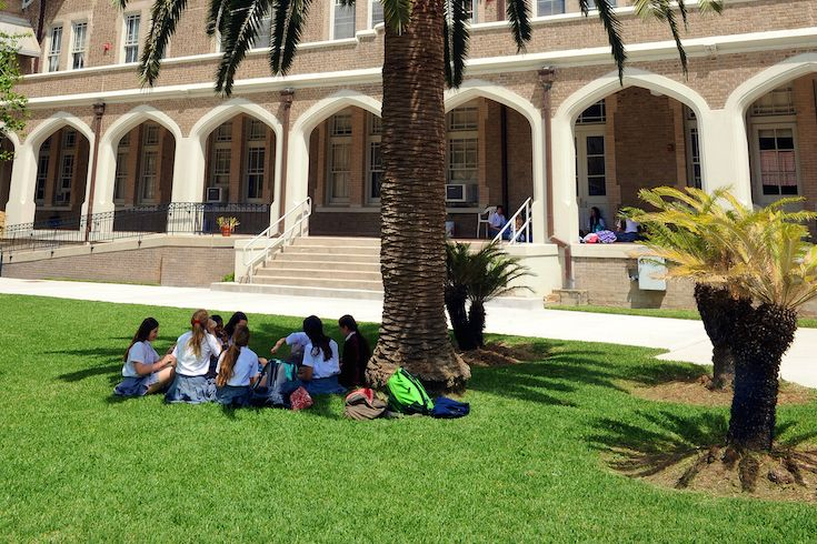 The Academy's interior French-style courtyard is the perfect place for students to study, have lunch, or  just enjoy each other's company.