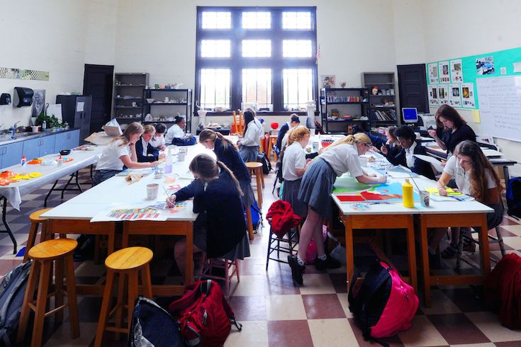 Ursuline's renovated art studio provides an aesthetically pleasing space for young artists.