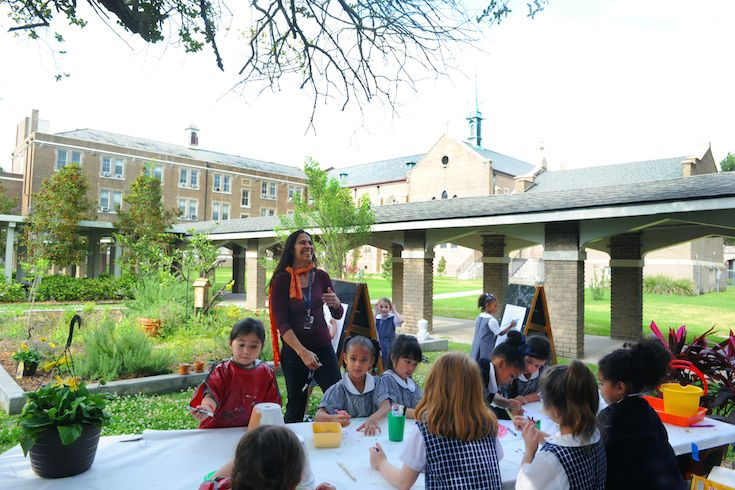 The Early Childhood Outdoor Classroom and Garden connect students with nature and the world around them.