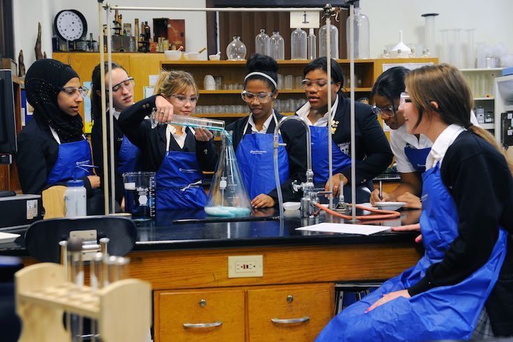Updated high school and middle school science labs allow for hands-on experiences and interactive  learning.