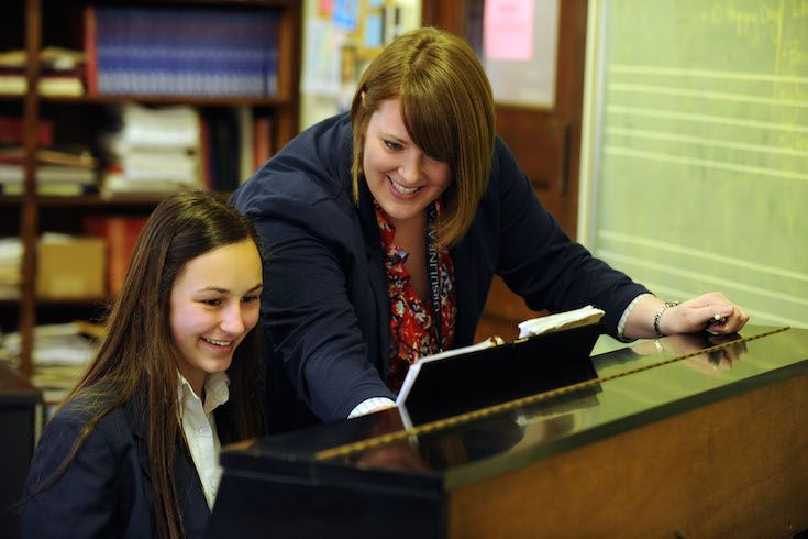 Private and group piano lessons are offered at the elementary school and high school level.
