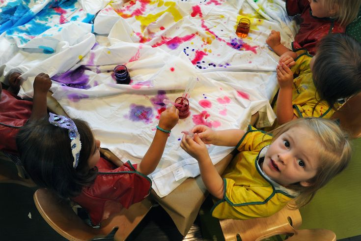 Art and music education begins as early as Toddler 2. Our Soeur Teresita Rivet, OSU Early Childhood Learning Center is equipped with art and music stations as well as a black box theatre.