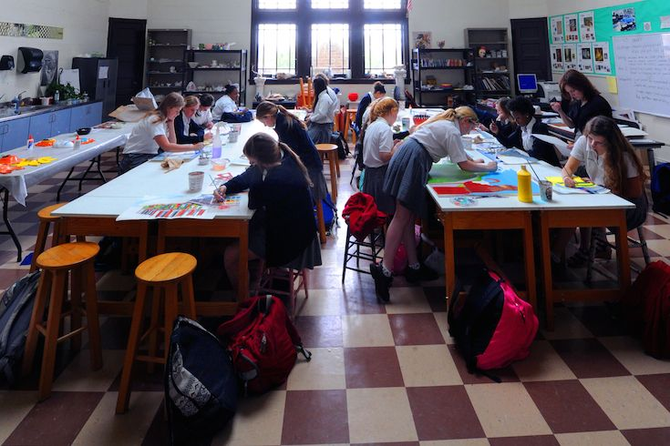 The High School's art studio is one of several areas designated for the creative arts.