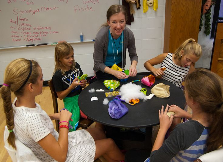 Artists from Lexington Children's Theatre run a puppetry workshop for middle schoolers.