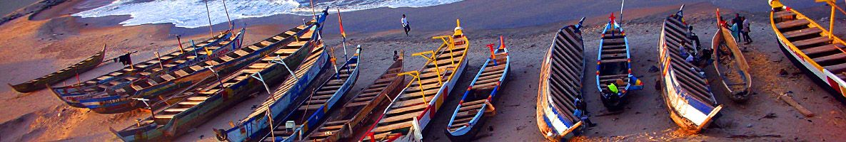 Canoes by the beach