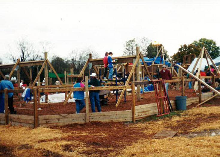 Volunteers building the Bearcat Backyard playground