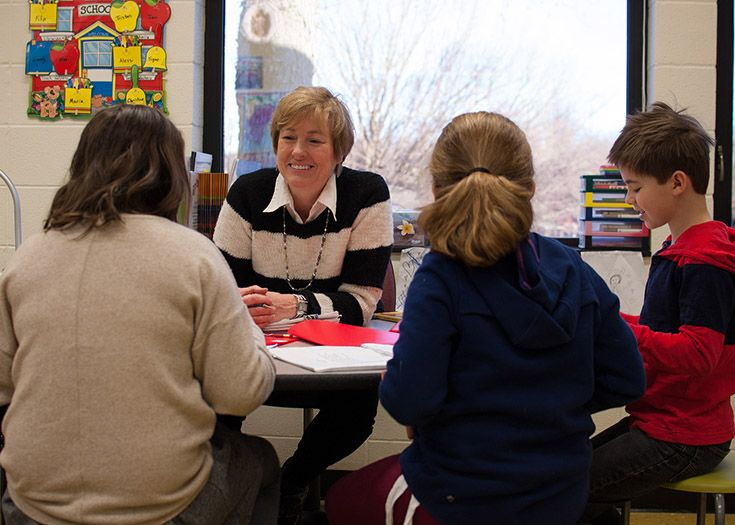 Small group centers are a key part of lower school classroom instruction.