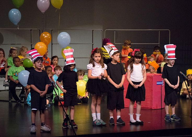 Kindergartners celebrate Dr. Seuss during their Poetry Cafe.