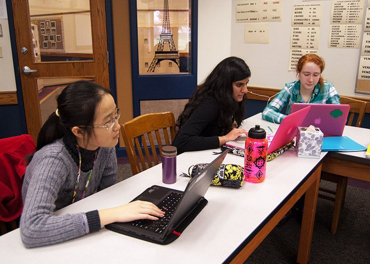 Laptops are part of daily life in the Upper School.