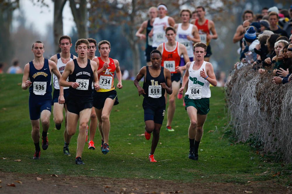 Peter Hogan - 3rd Place in State XC, 15:19. Photo by John Greengo '85.