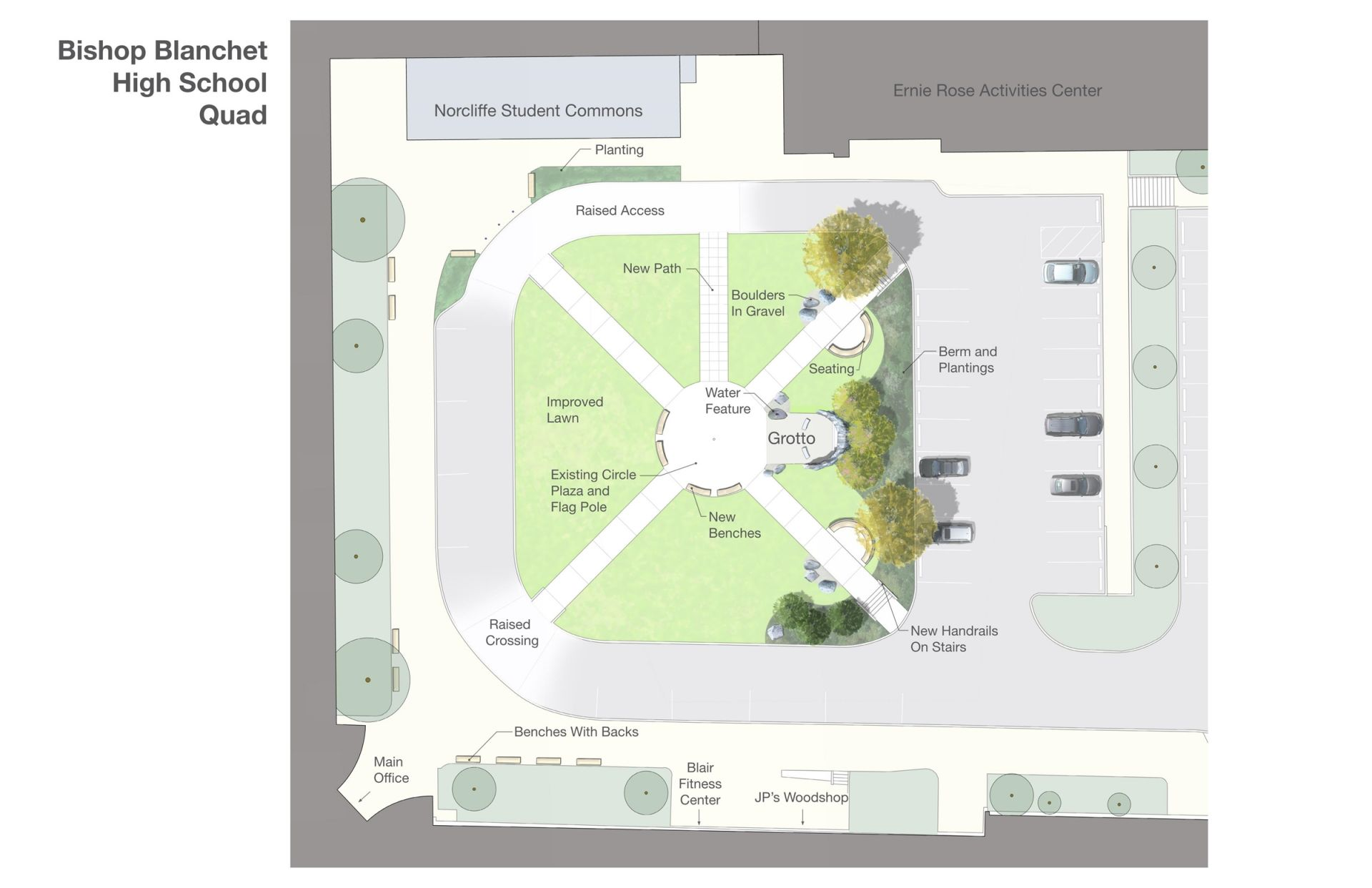 The newly named Jim Pinsoneault Quad will feature a grotto, expanded bench seating and new landscaping. This space will directly connect with the new Norcliffe Student Commons and will be a central gathering place to experience the Brave Community – whether eating lunch outdoors, stretching before practice, or saying a prayer before a test.